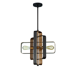 Linked Aged Bronze Brushed Two-Light Pendant