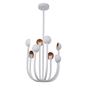 Foundry Matte White and Gold Leaf Eight-Light LED Chandelier