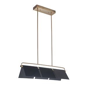 Tente Gloss Black and Satin Brass Three-Light LED Island Mini Pendant