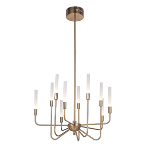 Valdi Satin Brass 10-Light LED Chandelier