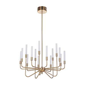 Valdi Satin Brass 15-Light LED Chandelier