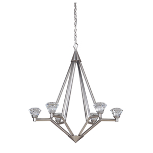 Radiante Brushed Polished Nickel Six-Light LED Chandelier