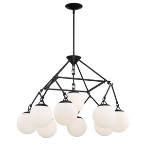 Orion Flat Black 30-Inch Nine-Light Chandelier