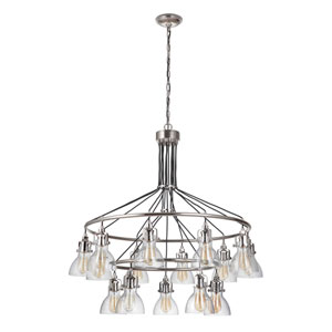 State House Polished Nickel 42-Inch 15-Light Chandelier