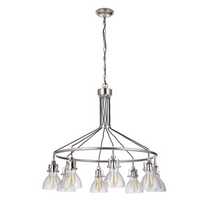 State House Polished Nickel 37-Inch Eight-Light Chandelier