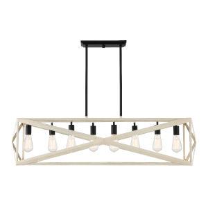 Hansel Cottage White and Espresso Eight-Light Pendant