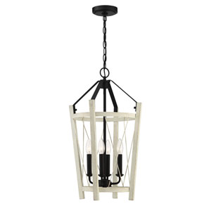 Suffolk Cottage White And Espresso 14-Inch Four-Light Pendant