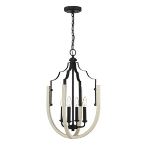 Carina Cottage White And Espresso 14-Inch Four-Light Pendant