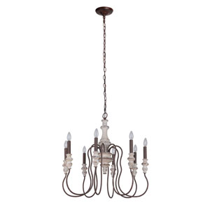 Highgate Cottage White And Forged Metal 27-Inch Eight-Light Chandelier