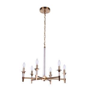 Tarryn Satin Brass Six-Light Chandelier