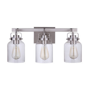 Foxwood Brushed Polished Nickel Three-Light Bath Vanity