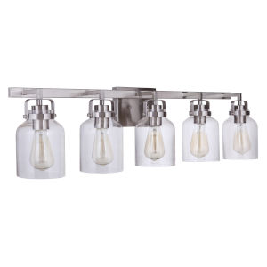 Foxwood Brushed Polished Nickel Five-Light Bath Vanity