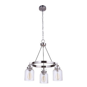 Foxwood Brushed Polished Nickel Three-Light Chandelier