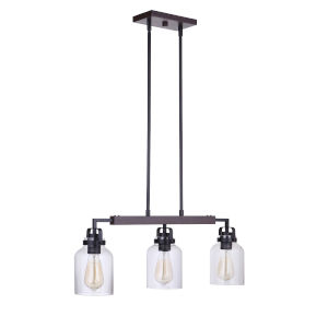Foxwood Flat Black with Dark Teak Three-Light Mini Pendant