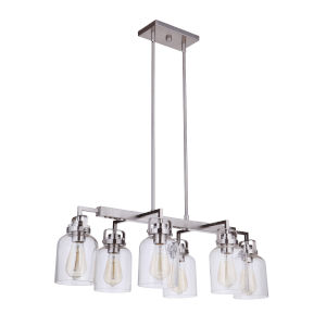 Foxwood Brushed Polished Nickel Six-Light Mini Pendant