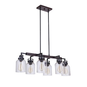 Foxwood Flat Black with Dark Teak Six-Light Mini Pendant