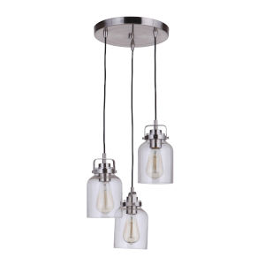 Foxwood Brushed Polished Nickel Three-Light Pendant