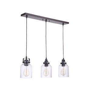 Foxwood Flat Black with Dark Teak Three-Light 5-Inch Mini Pendant