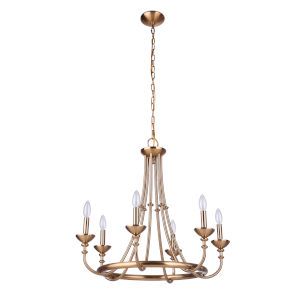 Marlowe Satin Brass Six-Light Chandelier