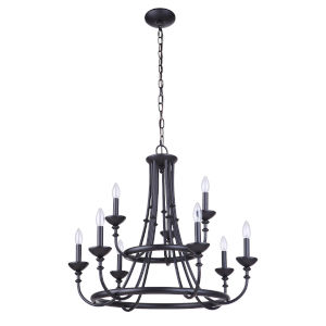 Marlowe Flat Black Nine-Light Chandelier