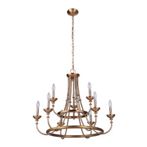 Marlowe Satin Brass Nine-Light Chandelier
