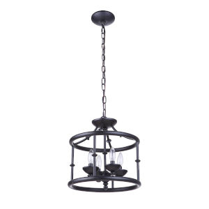 Marlowe Flat Black Four-Light Convertible Semi Flush