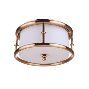 Marlowe Satin Brass Three-Light Flush Mount