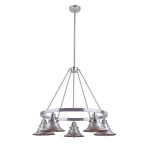 Union Satin Aluminum Five-Light Outdoor Chandelier