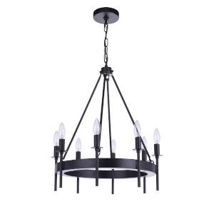 Larrson Flat Black Eight-Light Chandelier
