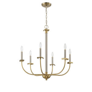 Stanza Brushed Polished Nickel and Satin Brass Six-Light Chandelier