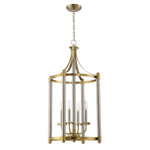 Stanza Brushed Polished Nickel and Satin Brass Four-Light Foyer Pendant