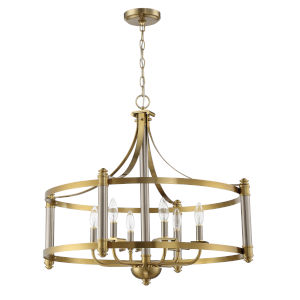 Stanza Brushed Polished Nickel and Satin Brass Six-Light Pendant