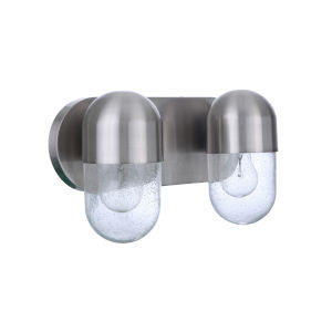 Pill Brushed Polished Nickel Two-Light Vanity Light