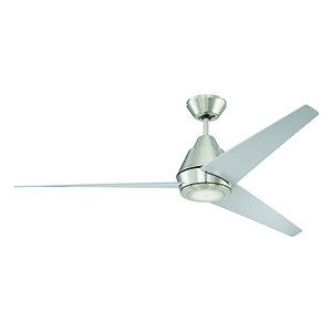 Acadian Brushed Polished Nickel Ceiling Fan with LED Light