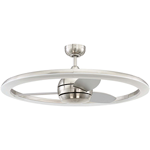 Anillo Brushed Polished Nickel Ceiling Fan with LED Light