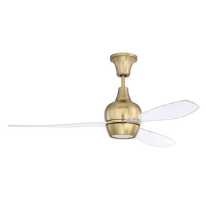 Bordeaux Satin Brass Led 52-Inch Ceiling Fan With Clear Acrylic Blade