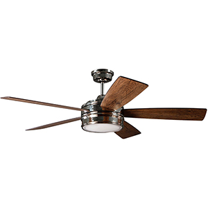 Braxton Polished Nickel Ceiling Fan with LED Light