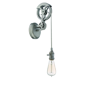 Aged Galvanized One-Light Pulley Wall Sconce Hardware