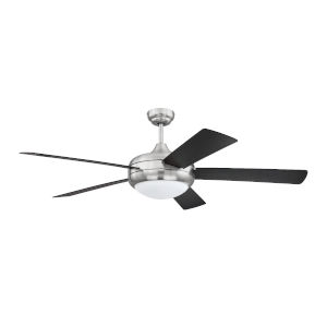 Cronus Brushed Polished Nickel 52-Inch LED Ceiling Fan with Black Blades