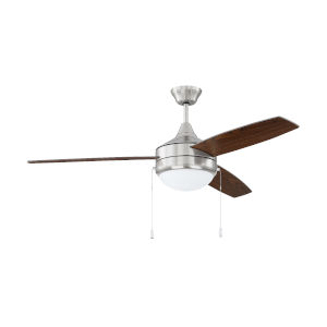 Phaze Brushed Polished Nickel 52-Inch Two-Light Ceiling Fan with Dark Oak Walnut Blade