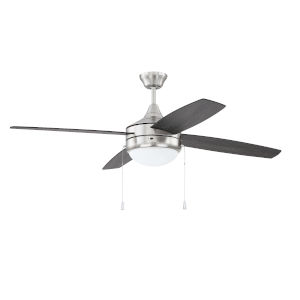 Phaze Brushed Polished Nickel 52-Inch Four-Blade Two-Light Ceiling Fan with Graywood Blade