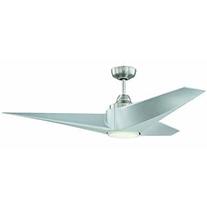 Freestyle Brushed Polished Nickel Ceiling Fan with LED Light