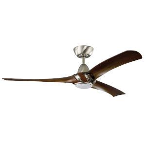 Genesis Brushed Polished Nickel Walnut 52-Inch LED Ceiling Fan