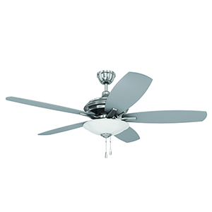 Jamison Brushed Polished Nickel Ceiling Fan with LED Light
