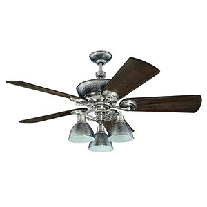 Timarron Brushed Polished Nickel Ceiling Fan with Light