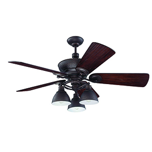 Timarron Aged Bronze Brushed Ceiling Fan with Light