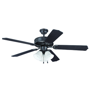 Pro Builder 205 Flat Black Ceiling Fan with Light