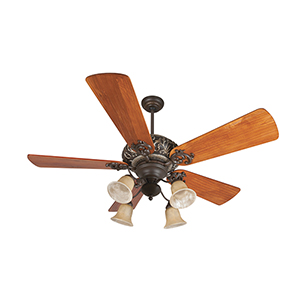 Ophelia Aged Bronze Ceiling Fan with Light