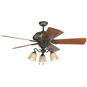 Ophelia Aged Bronze Ceiling Fan with LED Light