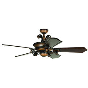 Seville Espana Spanish Bronze Carved Blade 68-Inch Ceiling Fan
